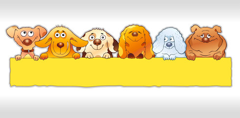 Cartoon illustration of funny dogs holding blank board. Smiling pets panoramic illustration