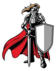 standing knight mascot