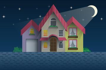 Flat style cottage at night vector illustration