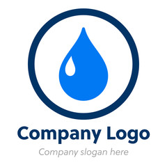 Water drop circle logo icon vector