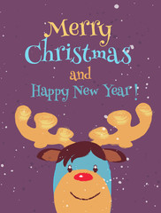 Funny Christmas Greeting card with rudolph reindeer red nose. Vector cartoon illustration of christmas reindeer in hand draw style.