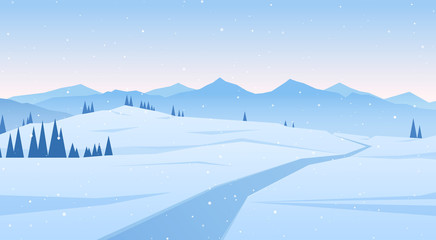 Vector illustration: Winter scene with mountains landscape. Christmas background