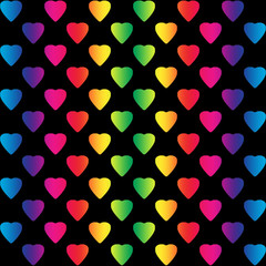 Bright rainbow colored hearts on black background, a seamless pattern