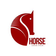 Horse head profile graphic logo template, vector illustration on white background. Stylish horse head outline for stable, farm, race logo design