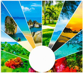 Collage of summer beach images - nature and travel background