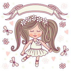 Little Ballerina. Template greeting card or invitation