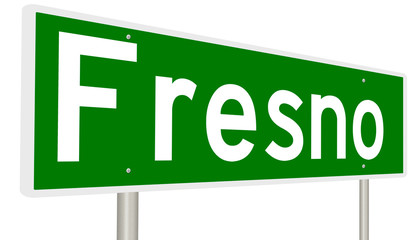 A 3d rendering of a green highway sign for Fresno, California