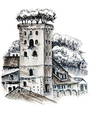Hand drawn marker sketch of italian landscape