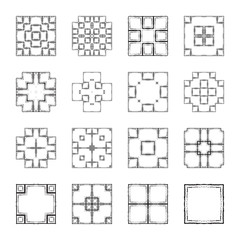 Vector logo design templates and patterns. Abstract icons in grunge style. Set of creative hand drawn, doodle, ink symbols isolated on white.