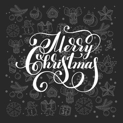 Merry Christmas calligraphic hand lettering on grey gift holiday