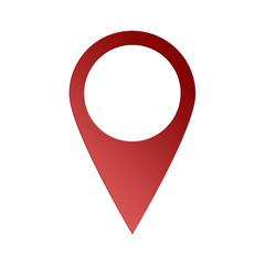 Punto di geolocalizzazione di colore rosso con ombra isolato su sfondo bianco _ perno geo rosso