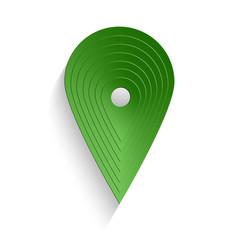 Punto di geolocalizzazione di colore verde con ombra _ perno geo verde