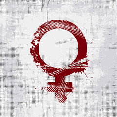 Grunge Female Gender Symbol. Woman sign on grunge background.