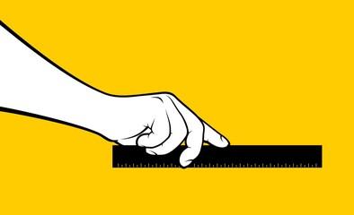 Man hand using ruler