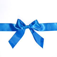Blue celebratory bow with a blue tape