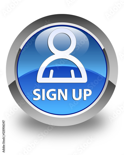 """""""Sign up (member icon) glossy blue round button"""" Stock ..."""