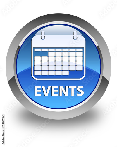 Event Calendar Icon : Quot events calendar icon glossy blue round button stock