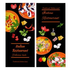 Italian food vintage design template. Vertical vector banners set. Italian Cuisine restaurant menu.