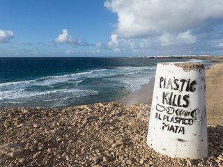 Signpost at the beach reading plastic kills in english and Spani