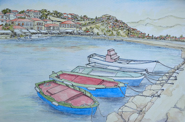 Ink and Watercolor painting of Molvos Harbor on the island of Lesvos Greece