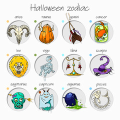 Colorful and funny halloween zodiac signs. All elements.