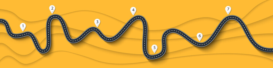 Road trip and Journey route. Winding Road on a Colorful Background with pin pointer. Vector EPS 10