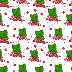 Seamless cute pattern made of pretty hand drawn red currants.