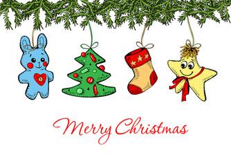 hare, Christmas tree, sock, star