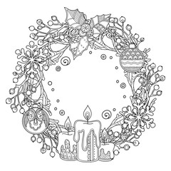 Christmas wreath in doodle style