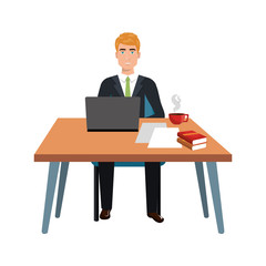 business person sitting in workplace vector illustration design