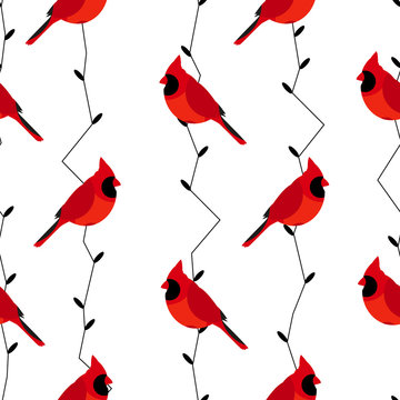 Seamless pattern with red cardinal and branches. Vector background.