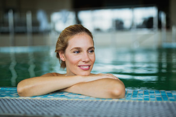 Beautiful woman in spa pool