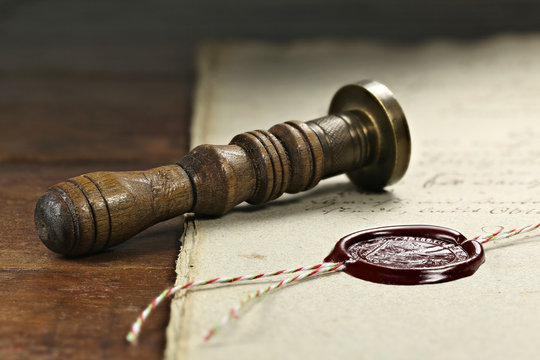 wax seal on document