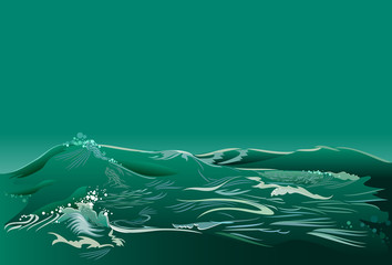Fantasy abstract background with seascape and green waves, vector image.