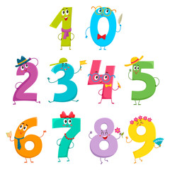 Set of cute and funny colorful number characters, cartoon vector illustration isolated on white background. One, two, three, four, five, six, seven, eight, nine, zero smiling characters, math symbols