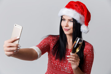 Girl in Christmas makes selfie