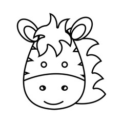 cute little zebra animal character vector illustration design