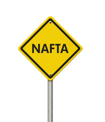 North American Free Trade Agreement yellow warning road sign