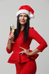 Festive girl in Santa hat