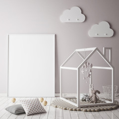 mock up poster frame in children bedroom, scandinavian style interior background, 3D render, 3D illustratio