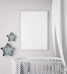 mock up poster frame in children room, scandinavian style interior background