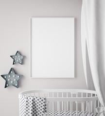 mock up poster frame in children room, scandinavian style interior background