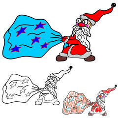 Santa Claus drags a bag. Vector illustration on which the cartoon Santa with a big bag of gifts