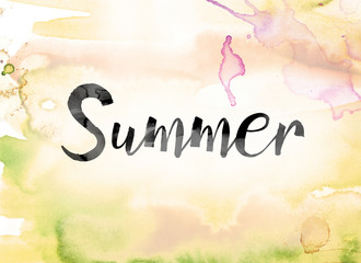 Summer Colorful Watercolor and Ink Word Art