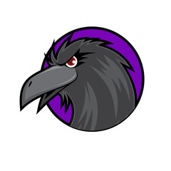 Crow Head on Purple Background
