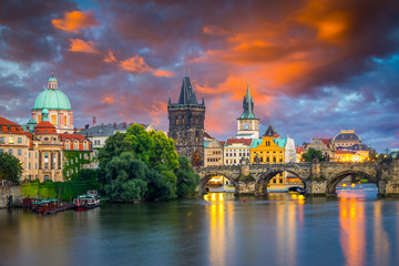 River Vltava at Dusk Prague Czech Republic