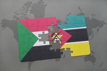 puzzle with the national flag of sudan and mozambique on a world map