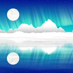 Blue colored arctic landscape with aurora digital image