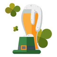 St Patric day beer and hat vector illustration.