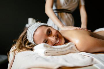 Beautiful woman enjoying massage